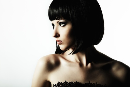 elegance fashion girls look sensuality young: Fashion portrait of a young beautiful dark-haired woman