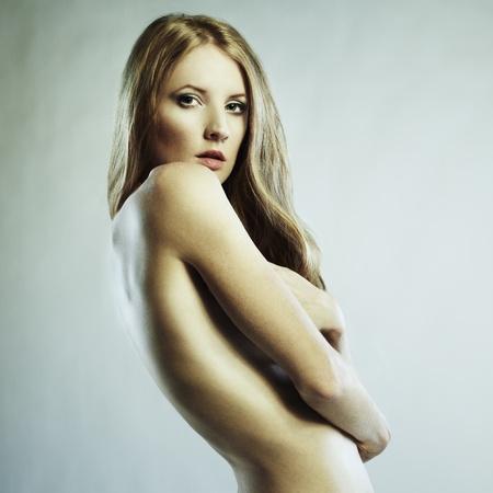 nude girl pretty young: Fashion photo of beautiful nude woman  Stock Photo