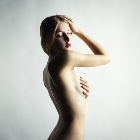 nude blond: Fashion photo of a beautiful nude woman