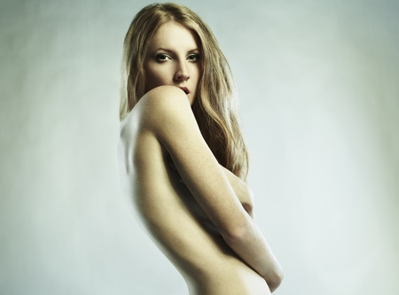 sexy nude girl: Fashion photo of beautiful nude woman  Stock Photo