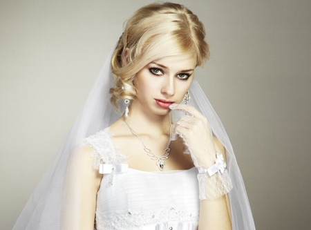 Wedding portrait of beautiful young bride photo