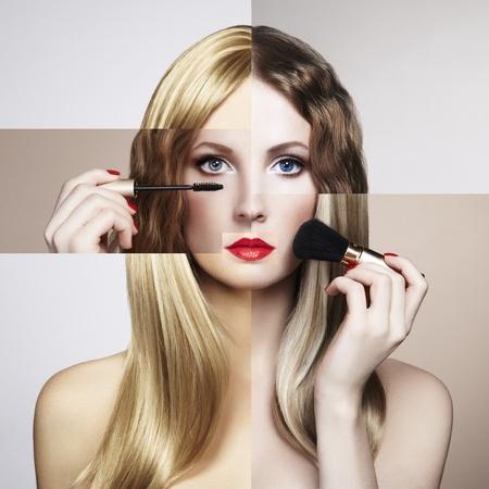 Conceptual fashion portrait of a beautiful young woman. Conceptual collage photo