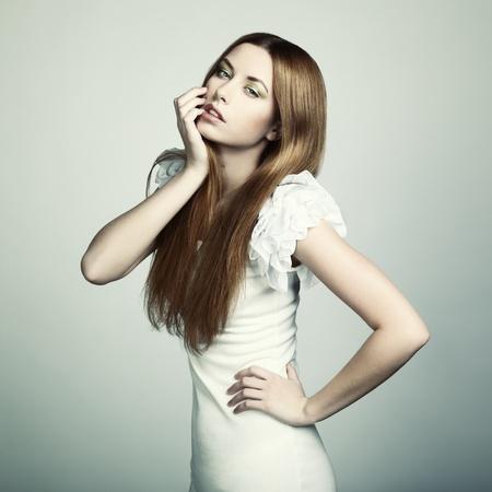 Fashion portrait of young beautiful woman  Closeup