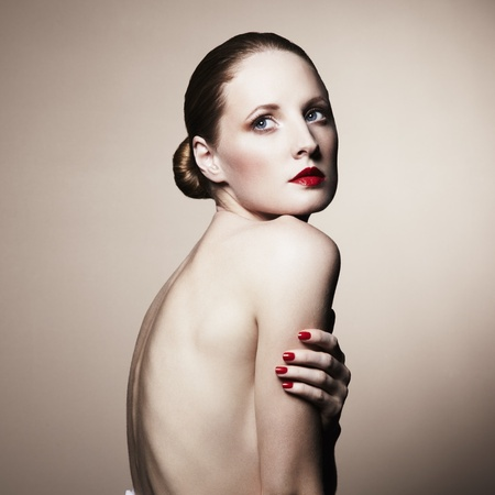 nude back: Fashion portrait of nude elegant woman  Studio photo
