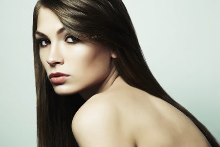 Fashion photo of a young woman with dark hair  Close-up portrait Stock Photo