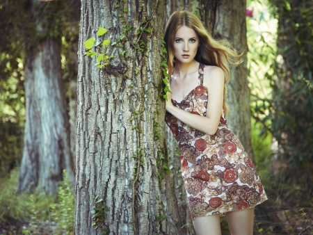 Fashion portrait of young sensual woman in garden  Beauty summertime photo