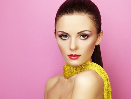 Fashion shoot of beautiful woman under a blue veil  Beauty portrait Stock Photo