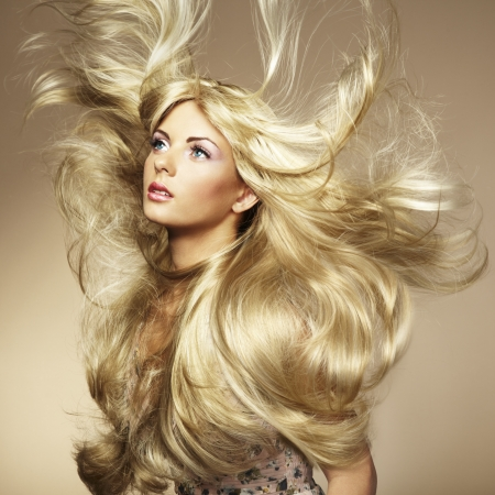 Photo of beautiful woman with magnificent hair.