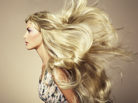 Photo of beautiful woman with magnificent hair.  photo