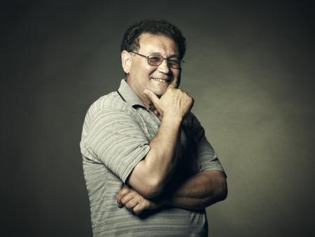 Closeup image of a happy aged man    Stock Photo