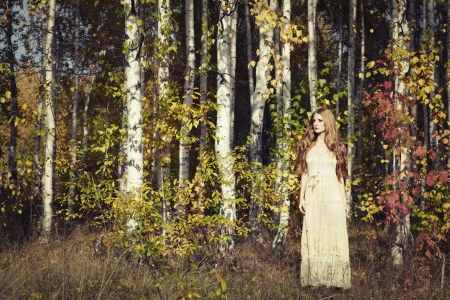 mystical forest: Fashion portrait of a beautiful young woman in autumn forest. Beauty autumn Stock Photo
