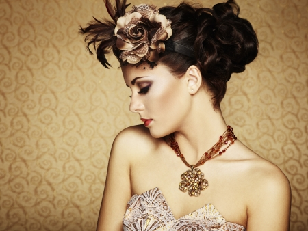 styled interior: Retro portrait of a beautiful woman. Vintage style.