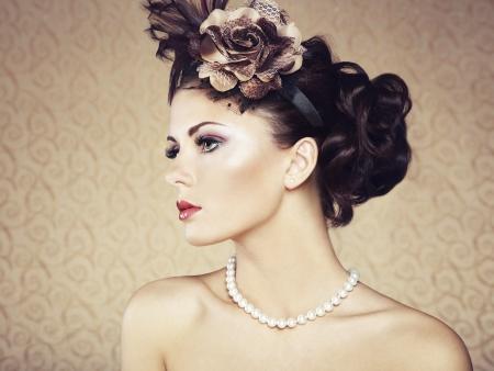 美しい女性ビンテージ スタイルのレトロな肖像画 写真素材