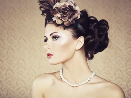 woman hairstyle: Retro portrait of  beautiful woman  Vintage style