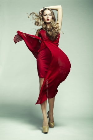 Fashion photo of young magnificent woman in red dress. Studio photo Stock Photo - 17824688