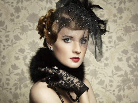 Retro portrait of  beautiful woman. Vintage style. Fashion photo Stock Photo - 18598079