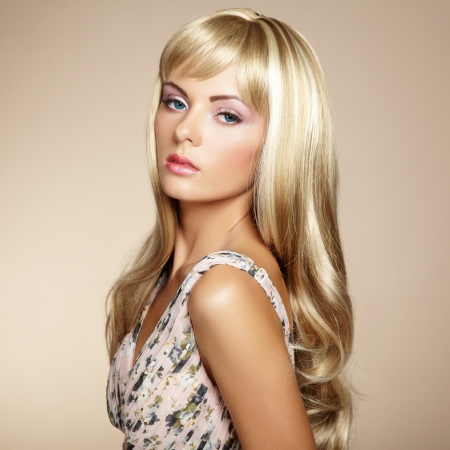 Photo of beautiful woman with magnificent hair  Fashion photo Stock Photo