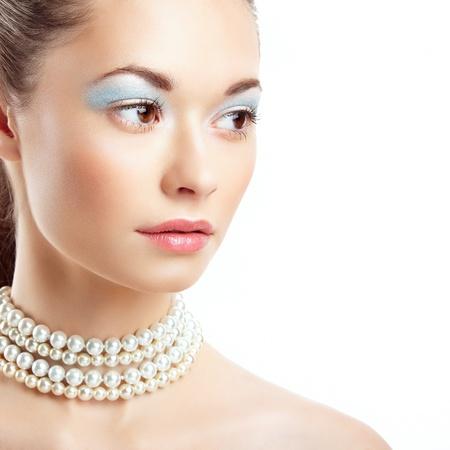 Beautiful woman face  Perfect Makeup  Beauty fashion Stock Photo