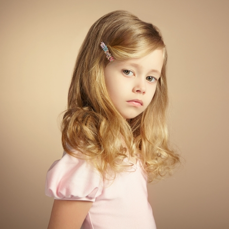 portrait young girl studio: Portrait of pretty little girl. Fashion photo Stock Photo