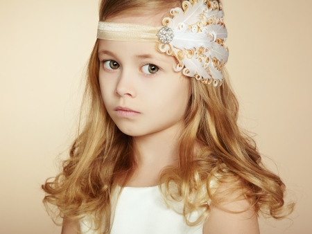 Portrait of pretty little girl. Fashion photo photo
