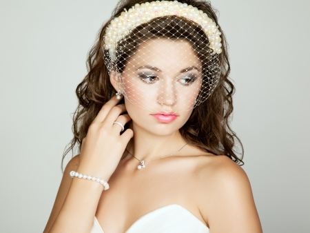 Portrait of beautiful bride. Perfect makeup. Wedding photo photo