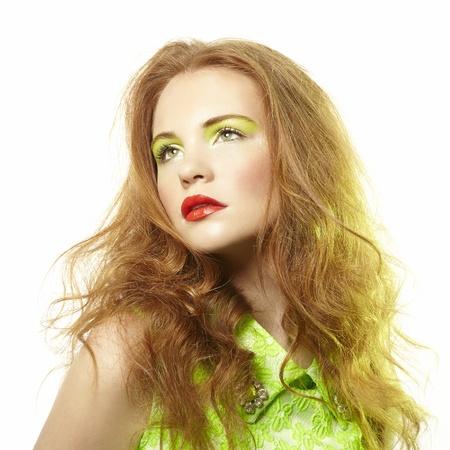 Portrait young beautiful woman on white background  Fashion photo Stock Photo - 21574243