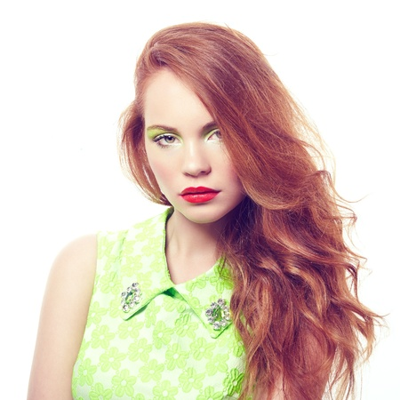 Portrait young beautiful woman on white background  Fashion photo Stock Photo - 21574244