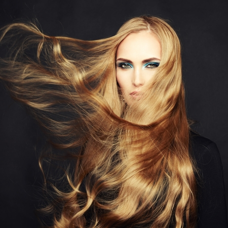 beautiful hair: Photo of beautiful woman with magnificent hair Stock Photo