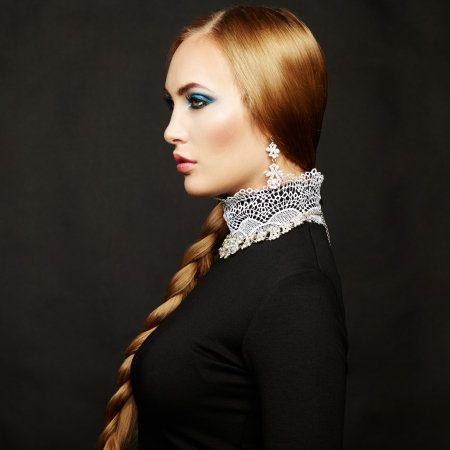 bead jewelry: Photo of beautiful woman with magnificent hair Stock Photo