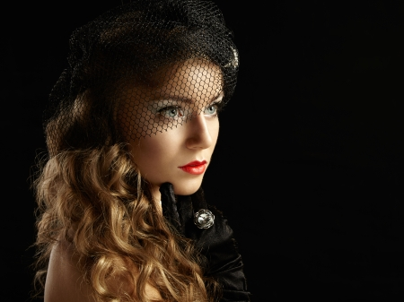 Retro portrait of  beautiful woman. Vintage style. Fashion photo photo