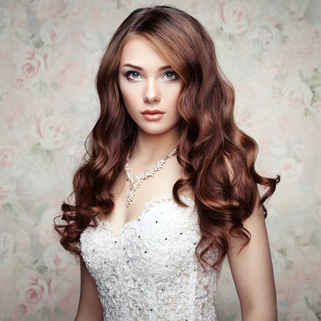 nude bride: Portrait of beautiful sensual woman with elegant hairstyle