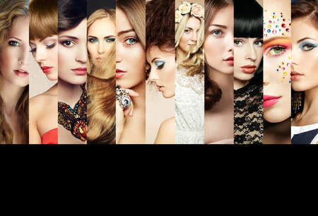Beauty collage. Volti di donne. Foto di moda