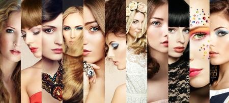 Collage de belleza. Rostros de mujeres. Foto de la manera Foto de archivo - 27517071