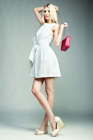 Fashion photo of young magnificent woman. Girl with handbag. Girl posing