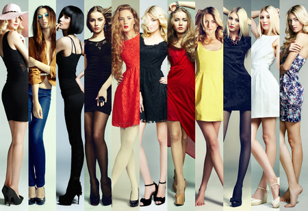 Fashion collage. Group of beautiful young women. Sensual girls photo