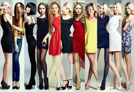 Fashion collage. Group of beautiful young women. Sensual girls