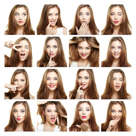 positive feelings: Collage of beauty face woman