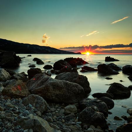 eventide: Mountains and sea at sunset. Crimea landscape. Nature background