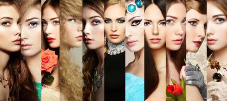 뷰티 콜라주. 여성의 얼굴. 사람들의 그룹입니다. 패션 사진