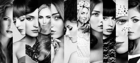 glamour nude: Beauty collage. Faces of women. Fashion photo. Black and white Stock Photo