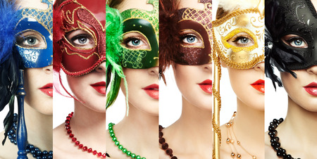 Woman in mysterious Venetian mask. Beauty collage. Faces of women. Fashion photo. Group of people