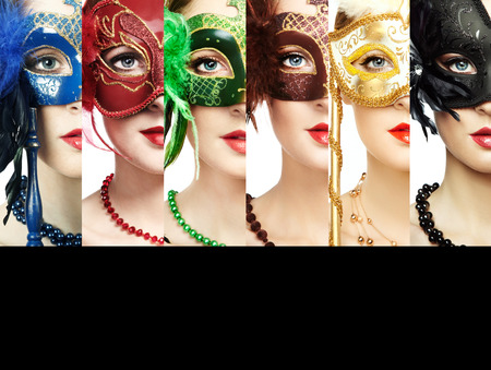 conceptual cute: Woman in mysterious Venetian mask. Beauty collage. Faces of women. Fashion photo. Group of people