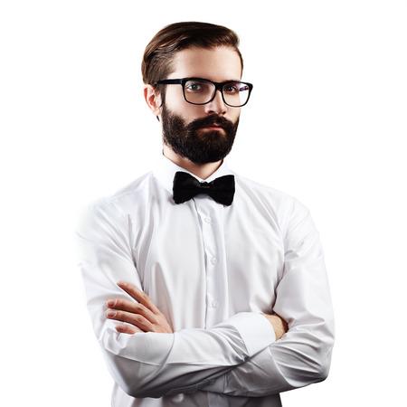 man think: Portrait of handsome man with beard. Fashion photo. Businessman