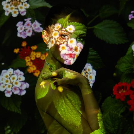 modelo desnuda: Glamour mujer de la belleza retrato. Foto del concepto de la moda. Instalaci�n de arte. Joyer�a y maquillaje. Presentaci�n de la muchacha Foto de archivo