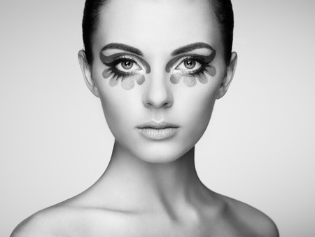 lash: Beautiful woman face. Perfect makeup. Beauty fashion. Eyelashes. Cosmetic Eyeshadow. Black and white