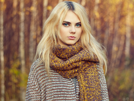 Portrait of young beautiful woman in autumn pullover. Fashion photo. Blonde girl. Perfect make-up Stock Photo