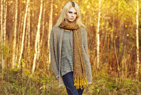 autumn young: Portrait of young beautiful woman in autumn pullover. Fashion photo. Blonde girl. Perfect make-up Stock Photo