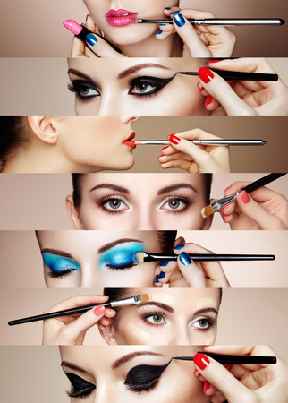 makeup: Beauty collage. Faces of women. Fashion photo. Makeup artist applies lipstick and eye shadow Stock Photo