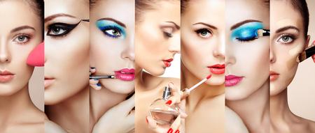 Lipstick: Beauty cắt dán. Khuôn mặt của người phụ nữ. ảnh thời trang. Nghệ sĩ trang điểm áp dụng son môi và bóng mắt. Người phụ nữ áp dụng nước hoa