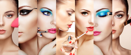 mujer maquillandose: Collage de belleza. Las caras de las mujeres. Foto de moda. El artista de maquillaje aplica el lápiz labial y sombra de ojos. Mujer que aplica perfume